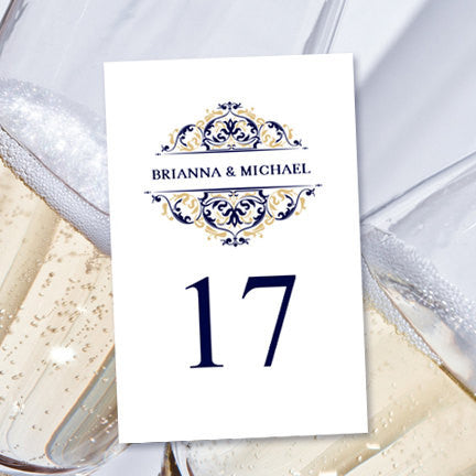 Wedding Table Number Template Grace Navy Blue Champagne Flat