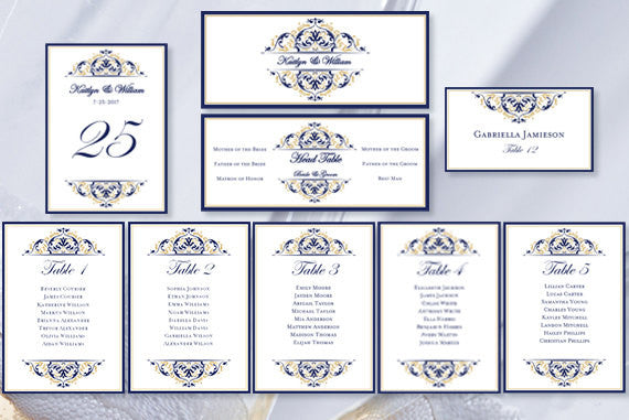 Wedding Seating Chart Set Grace Navy Blue Champagne