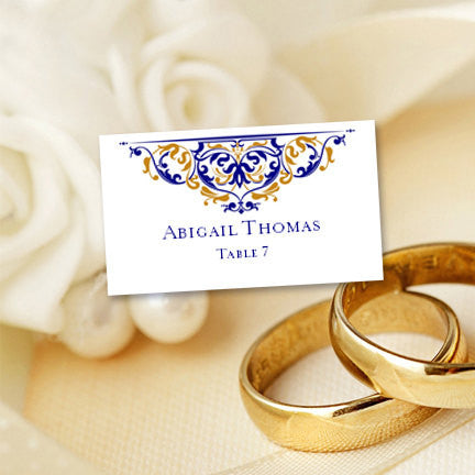 printable wedding place cards grace gold navy flat - Printed Wedding Place Cards
