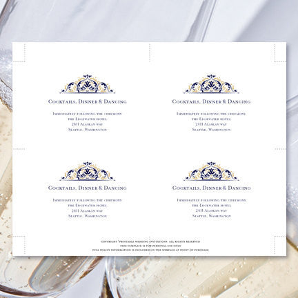 Wedding Reception Invitations Grace Navy Blue Champagne Gold