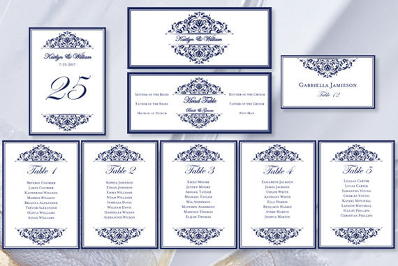Wedding Seating Chart Set Grace Navy Blue