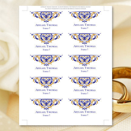 Printable Wedding Place Cards Grace Gold Navy Flat