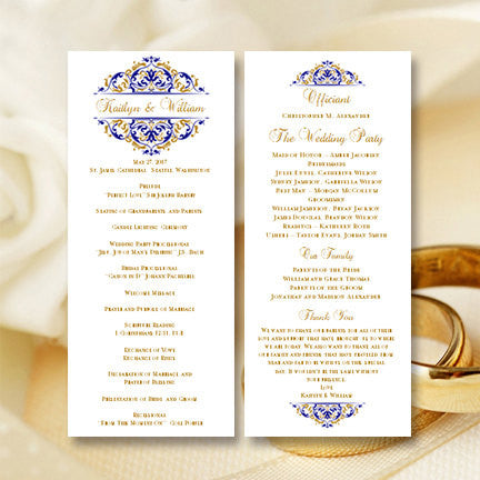 Slim Wedding Program Grace Navy Blue Gold Wedding Template Shop