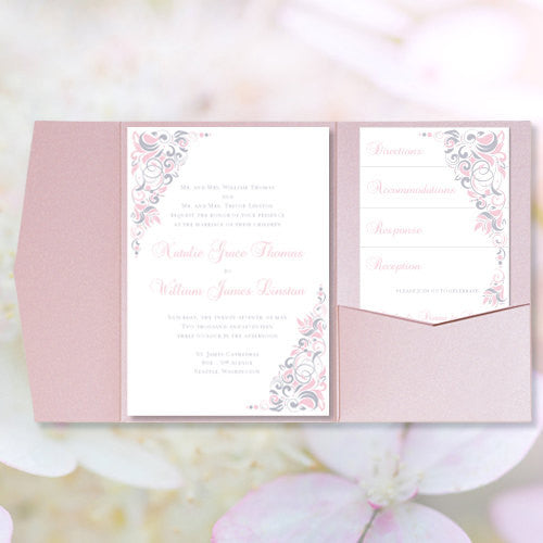 Pocket Fold Wedding Invitations Gianna Pink Silver Gray 5x7