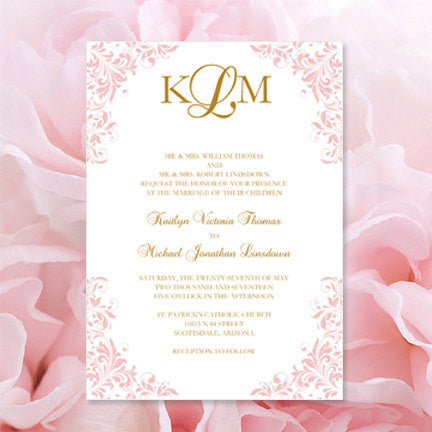 Kaitlyn Wedding Invitation Blush Pink