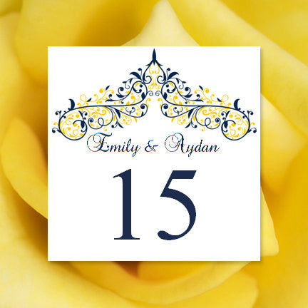Printable Table Number Template Victoria Navy Blue Yellow Tent