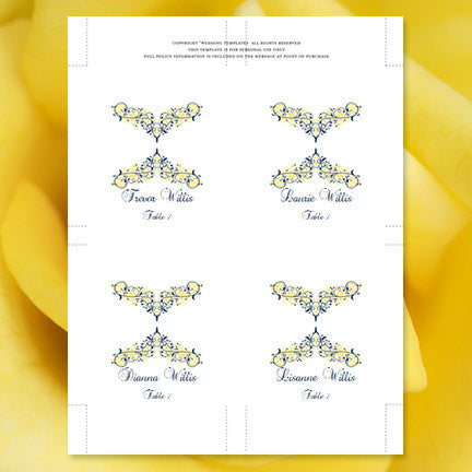 Wedding Seating Card Victoria Navy Blue Yellow Tent