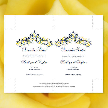 Wedding Save the Date Cards Victoria Navy Yellow