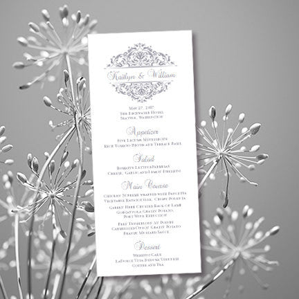 Wedding Menu Card Grace Gray Tea Length