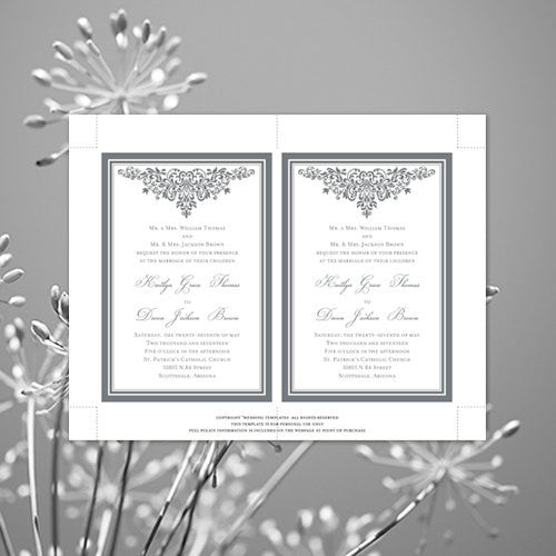 Pocket Fold Wedding Invitations Anna Maria Silver Gray 5x7