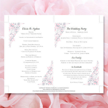 Wedding Program Fan Gianna Pink Silver