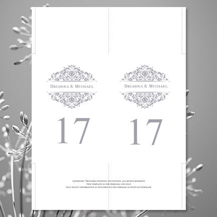 Wedding Table Number Template Grace Gray Flat