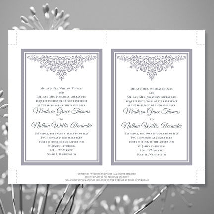 Anna Maria Wedding Invitation Silver Gray