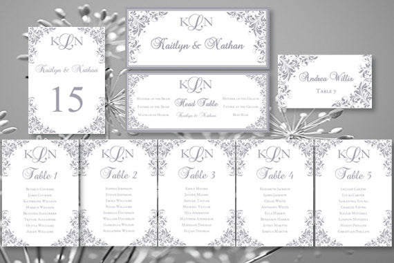 Wedding Seating Chart Set Kaitlyn Silver Gray