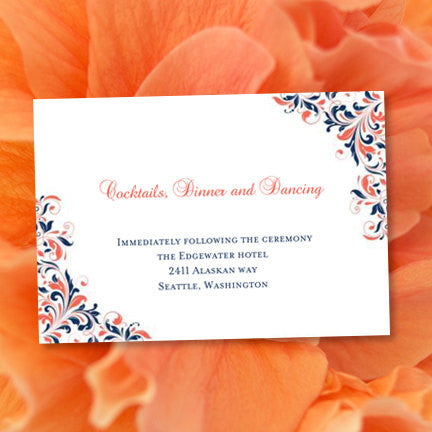 Wedding Reception Invitations Kaitlyn Navy Blue Coral