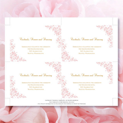 Wedding Reception Invitations Kaitlyn Blush Pink Gold
