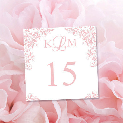 Printable Table Number Template Kaitlyn Blush Pink Tent