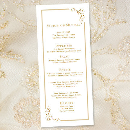 Wedding Menu Card Elegance Gold Tea Length