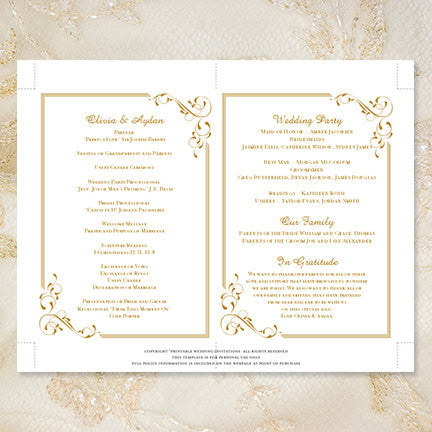 Wedding Program Fan Elegance Gold