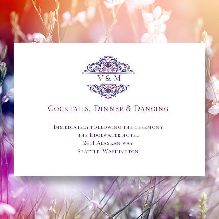 Wedding Reception Invitations Grace Purple Blue