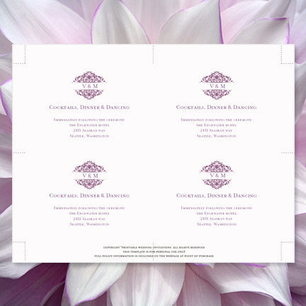 Wedding Reception Invitations Grace Plum Purple