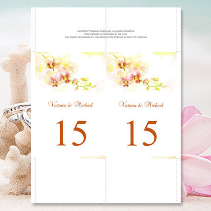Wedding Table Number Template Orchid Yellow Coral Green Flat