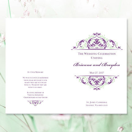 Wedding Program Template Grace Purple Meadow Green