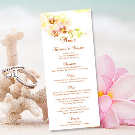 Wedding Menu Card Orchid Yellow Coral Green Tea Length