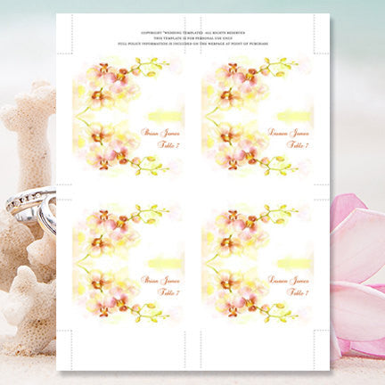 Wedding Seating Card Orchid Yellow Coral Green Tent