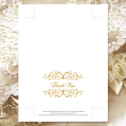 Wedding Thank You Card Vintage Flourish Gold