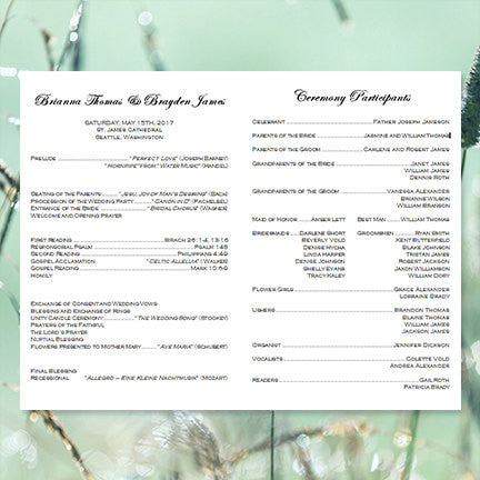 Catholic Church Wedding Program Faith Meadow Green
