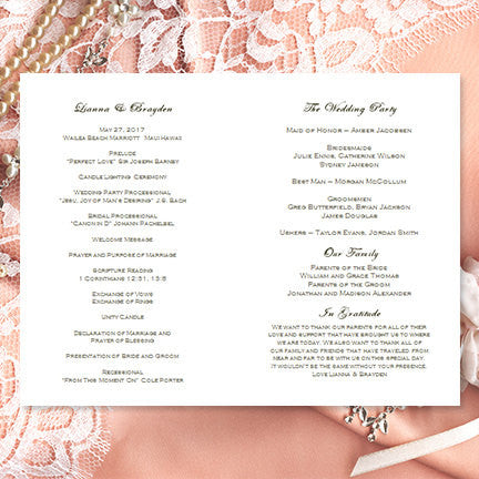 Wedding Program Template Damask Peach