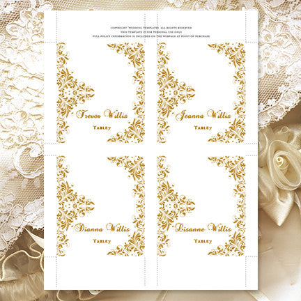 Wedding Seating Card Kaitlyn Gold Tent