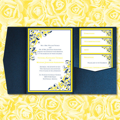 Pocket Fold Wedding Invitations Kaitlyn Navy Blue Yellow 5x7
