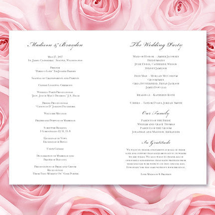 Wedding Program Template Vintage Light Pink