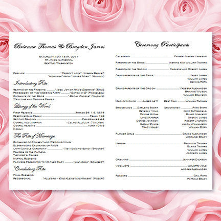 Catholic Church Wedding Program Grace Blush Pink Black - Wedding ...