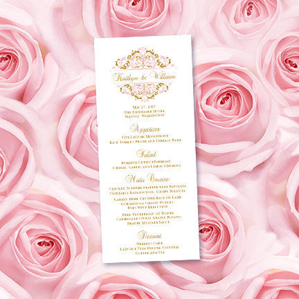 Wedding Menu Card Grace Blush Pink Gold Tea Length