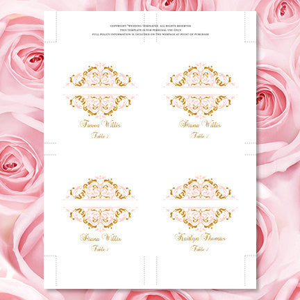 Wedding Seating Card Grace Blush Pink Gold Tent