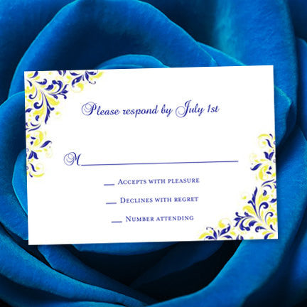 Wedding Response Cards Kaitlyn Royal Blue Lemon Yellow