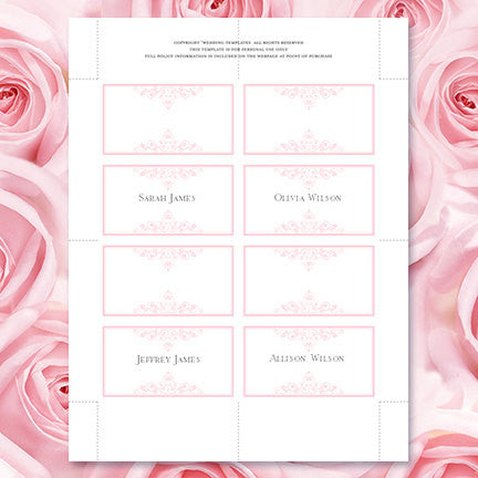 Wedding Seating Card Vintage Light Pink Tent