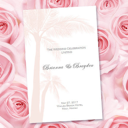 Wedding Program Template Palms Blush