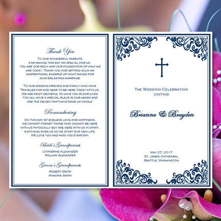 Catholic Church Wedding Program Faith Navy Blue