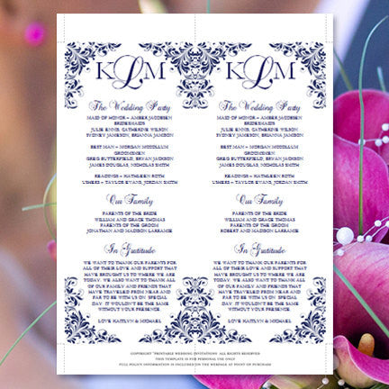 Slim Wedding Program Kaitlyn Navy Blue
