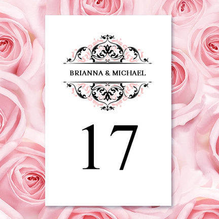 Wedding Table Number Template Grace Blush Pink Black Flat