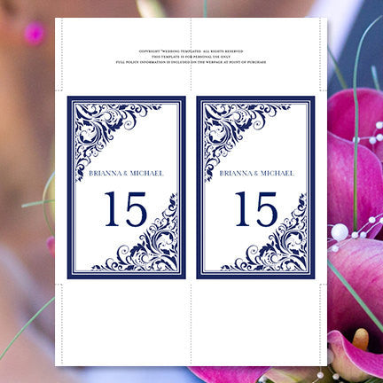 Wedding Table Number Template Brooklyn Navy Blue Flat