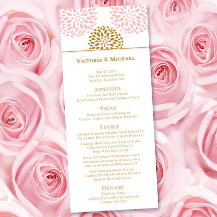 Wedding Menu Card Floral Petals Blush Pink Gold Tea Length