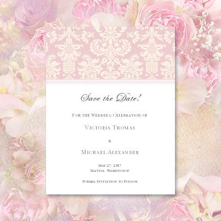 Wedding Save The Date Cards Damask Blush Pink Ivory
