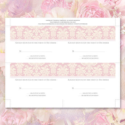 Wedding Response Cards Damask Blush Pink Ivory