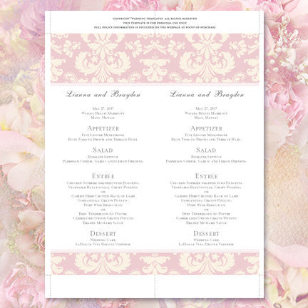Wedding Menu Card Damask Blush Pink Ivory Tea Length