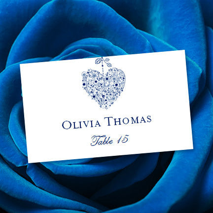 Wedding Seating Card Hearts Royal Blue Tent